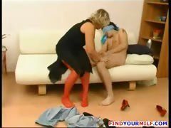 Mature MILF seduce young man